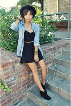 black wedge Forever 21 boots - black H&M dress