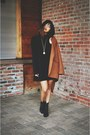 Dark-brown-oversized-cotton-on-coat-black-heels-lace-up-marc-fisher-boots