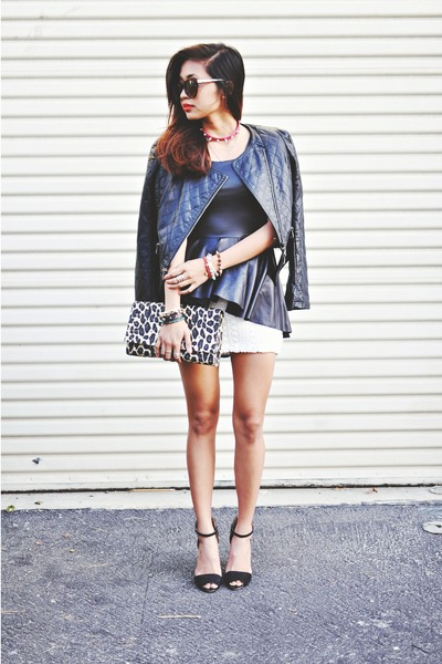 black pleather peplum Mustard Cartel top - white urban outfitter dress