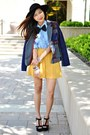 Mustard-cotton-on-skirt-navy-choies-blazer-black-sandal-heels-aldo-wedges