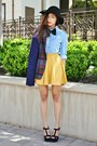 Navy-choies-blazer-mustard-cotton-on-skirt-black-sandal-heels-aldo-wedges