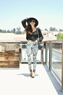 White-tribal-print-h-m-pants-black-pointed-strappy-zara-heels