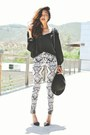 white tribal print H&M pants - black pointed strappy Zara heels