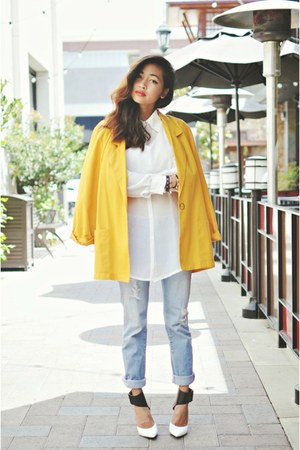 white chiffon leather Choies blouse - white colorblock Rock & Republic heels