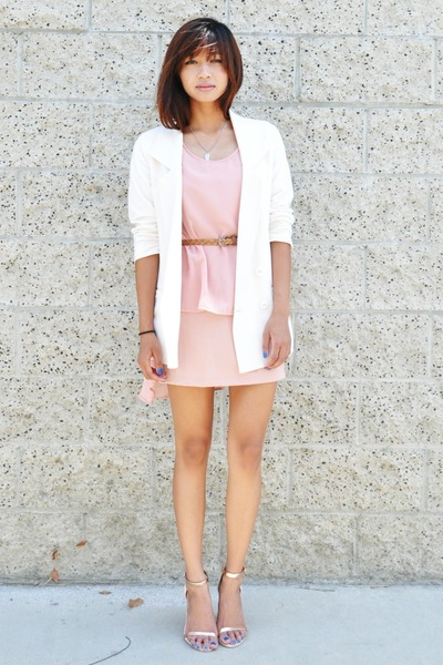 cream Forever 21 blazer - light pink Choies dress - eggshell Zara heels