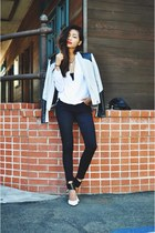 heather gray biker leather Hokkfabrica jacket - white Sheinsidecom blouse