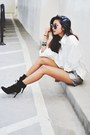 Black-lace-up-heels-marc-fisher-boots-silver-rehab-shorts
