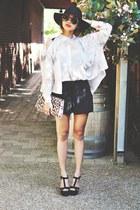 black Forever21 shorts - black sand heels Aldo wedges