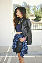 black quilt pleather Forever21 blazer - black pleather Forever21 skirt