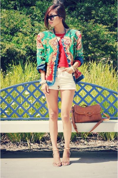 Forever 21 sweater - vintage thrifted vintage blazer - Forever 21 shorts