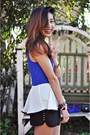 Black-forever21-shorts-blue-sugarlips-top