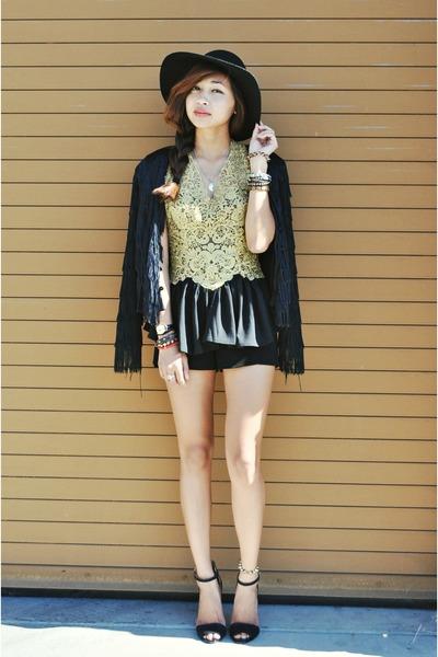 gold lace peplum Sugarlips top - black fringe thrifted vintage blazer