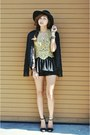 Black-fringe-thrifted-vintage-blazer-black-forever-21-shorts