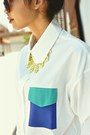 White-hokkfabrica-blouse-yellow-hokkfabrica-necklace