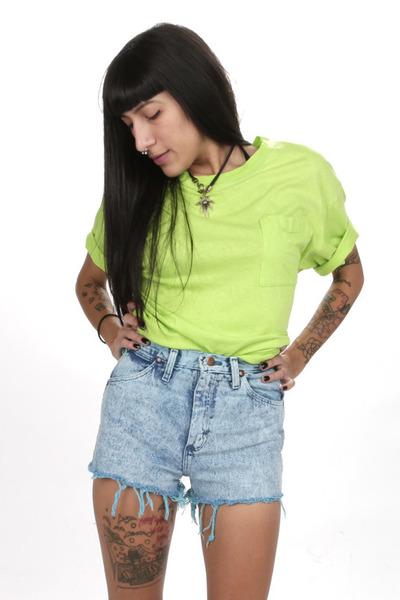 teal Wrangler shorts
