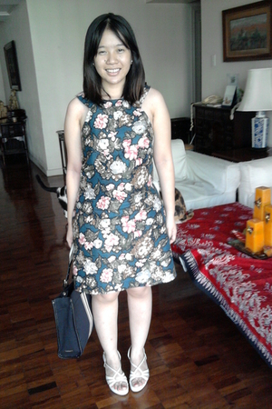 blue Mango dress - white Celine shoes - blue Charles & Keith purse
