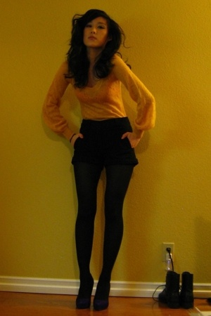 yellow H&M sweater - purple Jessica Simpson shoes - black H&M shorts