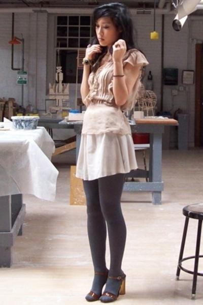 forever 21 top - h&m via thrift town skirt - American Apparel socks