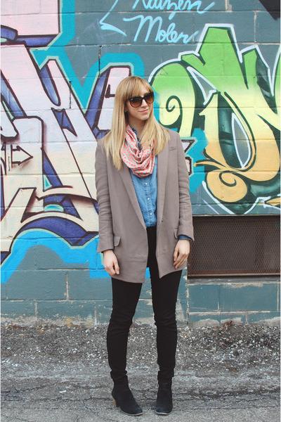 black JBrand jeans - heather gray dvf blazer