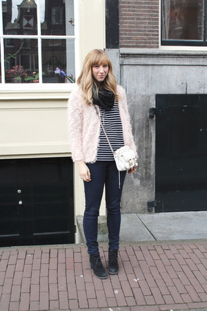 light pink Topshop cardigan - black JBrand jeans - black MinkPink shirt