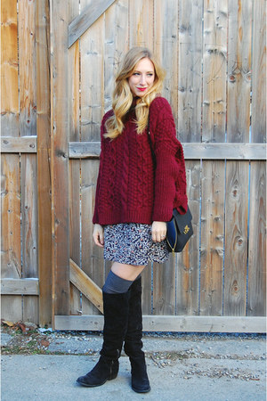 black suede Pegabo boots - maroon knit Zara sweater - black leather JCrew bag