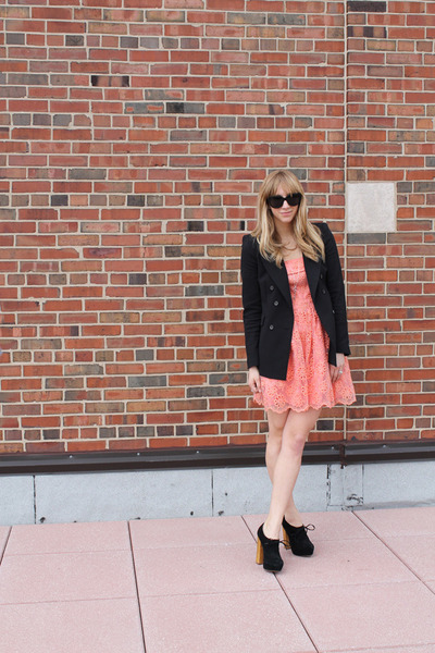 coral eShakti dress - black Zara blazer