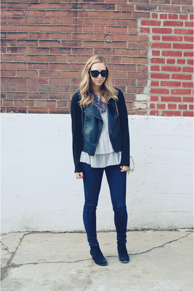 black Dolce Vita boots - navy rag&bone jeans - black Forever 21 jacket