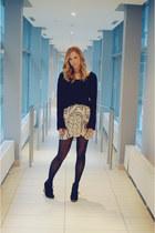 brandy melville sweater - jewel mint necklace - Zara skirt - Aldo wedges