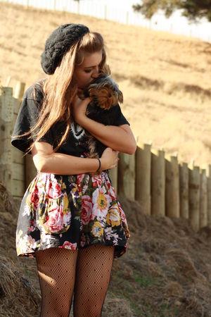 black kint beanie vintage hat - black floral skirt JayJays skirt