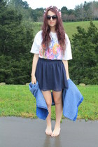denim shirt second hand shirt - navy chiffon supre skirt - floral mommas t-shirt