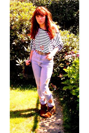 brown Sacha boots - blue vintage jeans