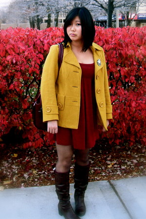 mustard coat - brick red Urban Outfitters dress - dark brown boots