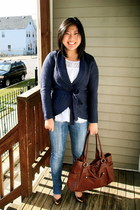 navy H&M cardigan - white thrifted shirt - dark brown Emilie bag - bronze Target