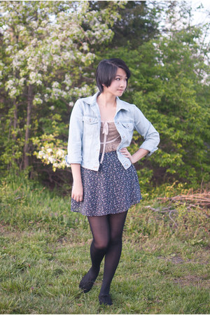blue denim jacket thrifted jacket - navy floral print Forever 21 skirt