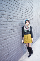 black Forever 21 t-shirt - mustard Old Navy skirt - teal H&M scarf