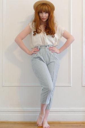blue vintage pants - white vintage blouse - beige vintage hat