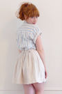 Blue-vintage-blouse-white-vintage-skirt