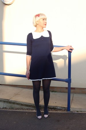 navy jersey new look dress - charcoal gray Primark tights