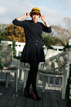 gold cloche felt Target hat - navy drop waist Asos via eBay dress