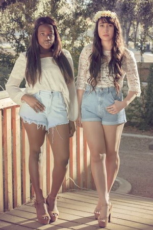 h&m lace top - DIY high waisted shorts - Nude Platforms heels