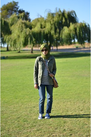 Old Navy jacket - tory burch bag - Gap pants - Converse sneakers