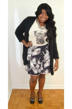 black floral Mossimo for Target skirt - black fuzzy Urban Planet cardigan