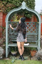 new look jacket - River Island boots - Miss Selfridges dress - ragged priest hat