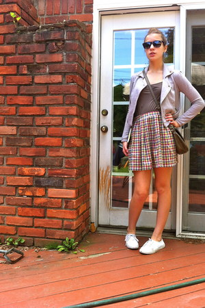 gold plaid Cooperative skirt - silver cotton yaya jacket - army green bag