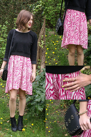 black Topshop boots - hot pink H&M dress - black Zara jumper