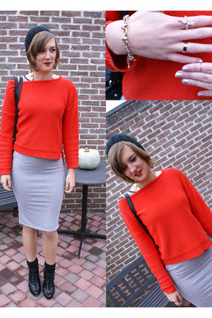 red Zara sweater - silver new look dress - black H&M bag - black H&M wedges