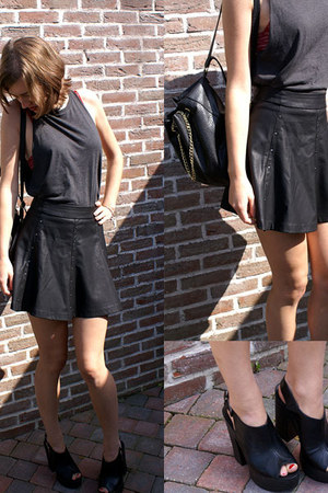 black H&M bag - black Zara skirt - charcoal gray h&m divided top