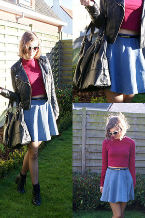 black Topshop boots - maroon H&M shirt - sky blue new look skirt