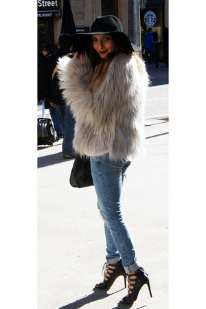 silver faux fur asos coat - blue denim Zara jeans - wool H&M hat