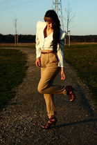 dark brown Zara heels - camel Zara pants - beige vintage blouse